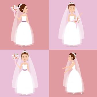 Romantyczny obraz nowożeńców pozujących