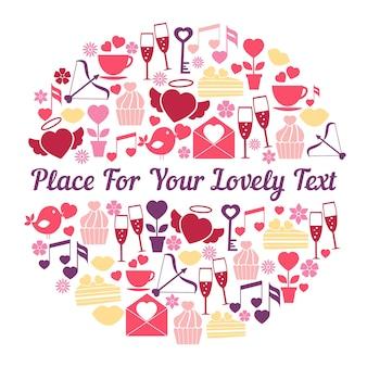 Romantyczny projekt karty z pozdrowieniami z okrągłym wzorem i miejscem na tekst z rozrzuconymi sercami