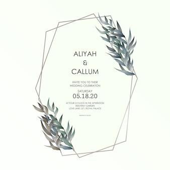 Romantyczny przetarg elegancki elegancki kwiatowy wzór na zaproszenie na ślub