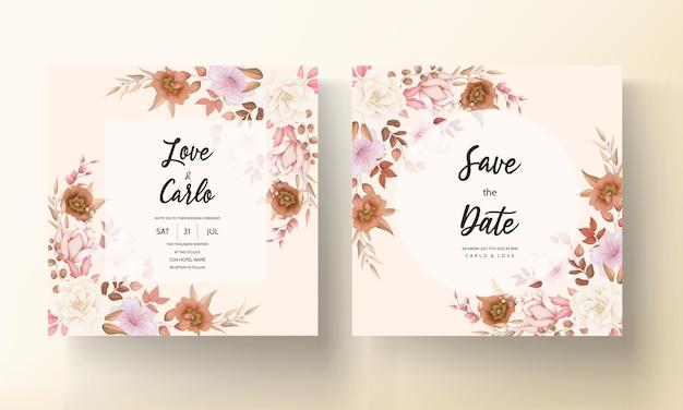 Romantyczny ręcznie rysowane elegancki brązowy kwiatowy zaproszenie na ślub