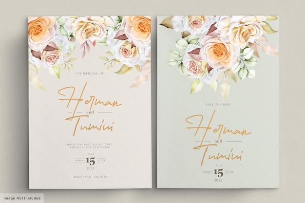 Romantyczny ręcznie rysowane zestaw kart kwiatowy ślub