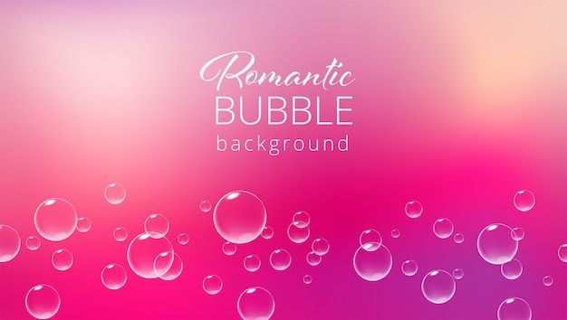 Romantyczny różowy tło z musującymi bąbelkami szablon karty walentynkowej realistyczne ilustracji wektorowych