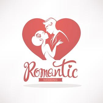 Romantyczny ślub, logo, emblemat, naklejka na zaproszenie ślubne