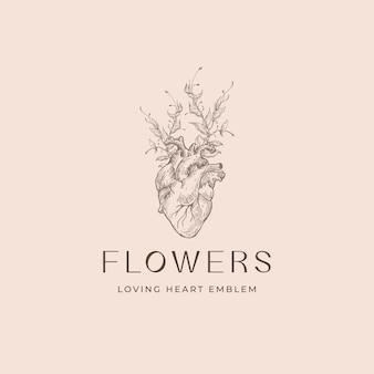 Romantyczny szablon logo. szkic anatomiczny serca