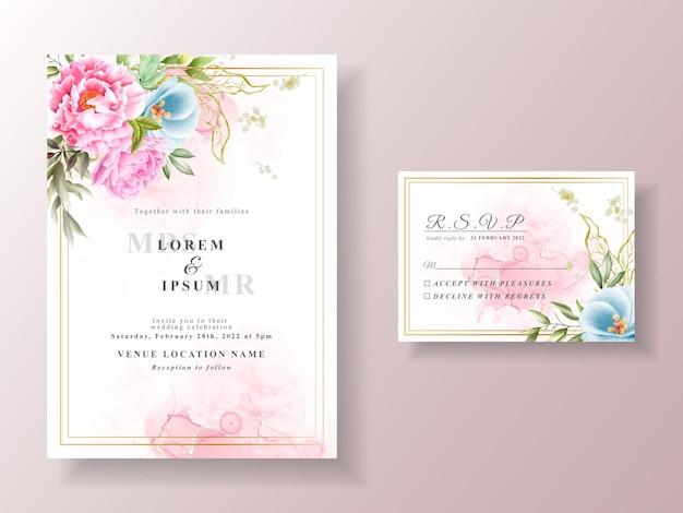 Romantyczny szablon zaproszenia ślubnego akwarela