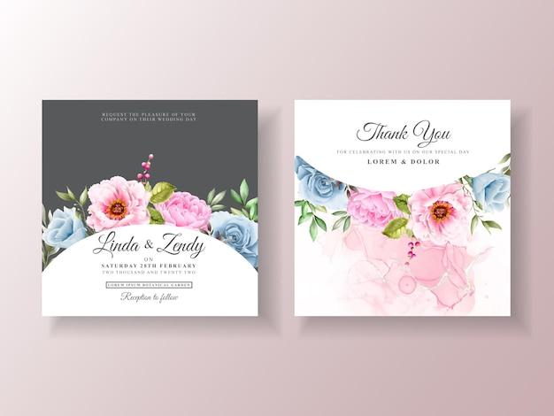 Romantyczny Szablon Zaproszenia ślubnego Akwarela Premium Wektorów