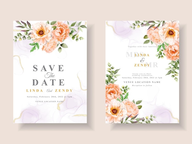 Romantyczny szablon zaproszenia ślubnego z kwiatowym ręcznie rysowane