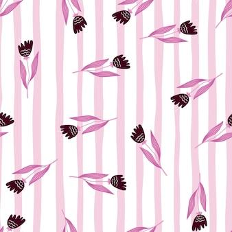 Romantyczny wildflower wzór na tle pasek. dekoracyjny ornament kwiatowy. tapeta natura. elegancki botaniczny design. do tkanin, nadruków na tekstyliach, opakowań, okładek. ilustracja wektorowa.