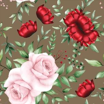 Romantyczny wzór z bordowym kwiatem