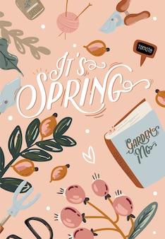 Romantyczny zestaw hello spring z ręcznie rysowanymi elementami ogrodowymi, narzędziami i romantycznym napisem
