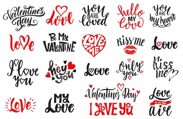 Romantyczny zestaw napisów. czarno-biały odręczny napis o miłości do plakatu projektu walentynki, kaligrafia.