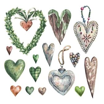 Romantyczny zestaw ręcznie rysowanych serc w stylu vintage.