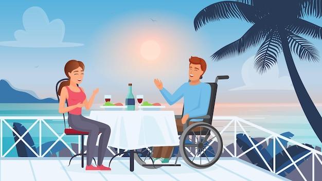 Romantyczny związek i małżeństwo osób niepełnosprawnych mężczyzna z niepełnosprawnością i dziewczyna