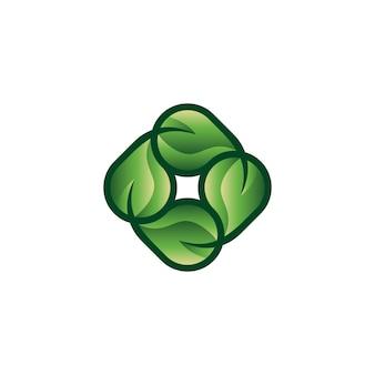 Romb z logo liścia