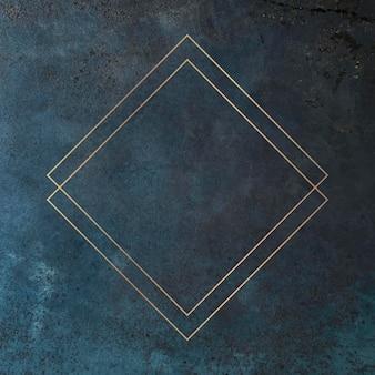 Romb złota ramka na tło wektor grunge
