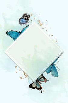Rombowa ramka z niebieskimi motylami