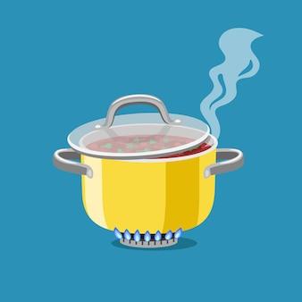 Rondel na palniku. kreskówka stalowy garnek z wrzącą zupą, płonący palnik gazowy nagrzewa naczynia kuchenne patelni, wektor ilustracja koncepcja domu obiad na białym tle na niebieski deseń