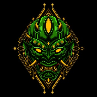 Ronin mask devil evil vector illustraton geometrii