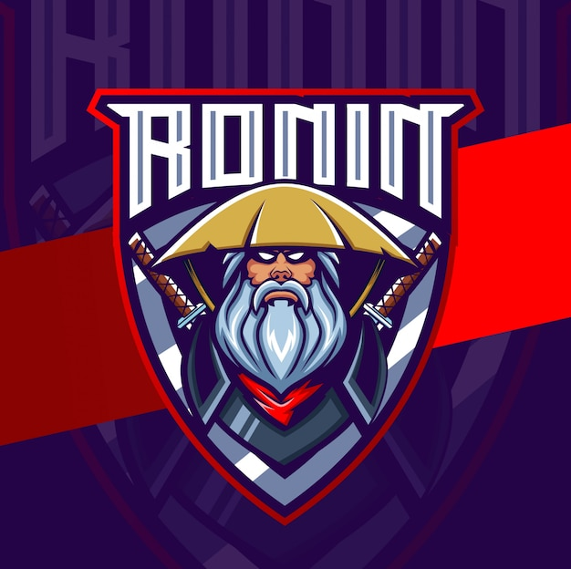 Ronin samuraj maskotka e-logo logo design znaków
