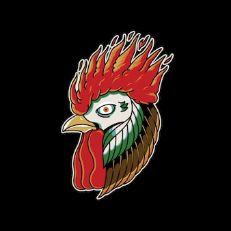 Rooster fire vintage tattoo retro