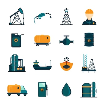 Ropy naftowej przemysłu rafinacji procesu transportu ropy naftowej ikony ustaw z oilman i pompy płaskie odizolowane ilustracji wektorowych
