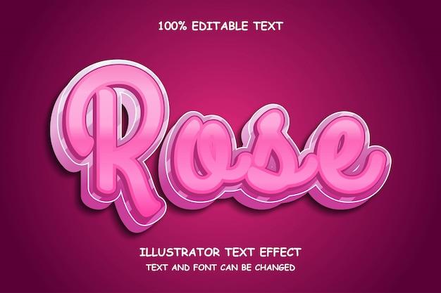 Rose, 3d edytowalny tekst efekt nowoczesnego stylu cienia