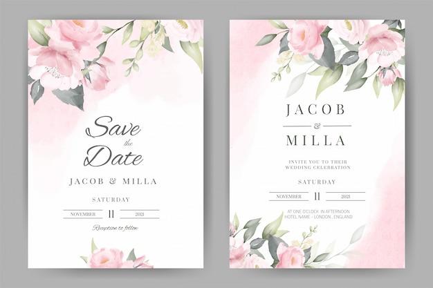 Rose kwiatowy akwarela zaproszenie na ślub zestaw szablonu karty projekt z różowym tle akwarela bukiet.