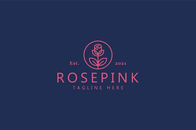 Rose piękna miłość symbol logo. luksusowa ilustracja marki biżuteria, kosmetyki, butik
