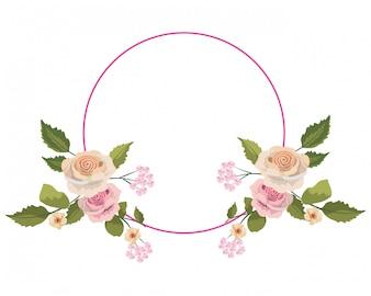 Roses roślin z liści i stylu koła