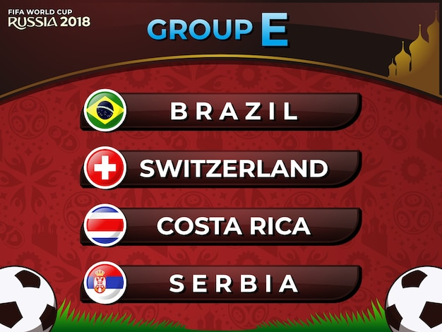 Rosja 2018 drużyna piłkarska fifa world cup grupa e nations