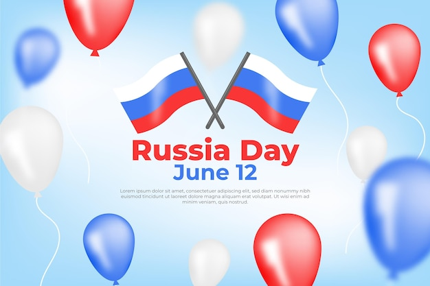 Rosja dnia tło z balonami w płaskim projekcie