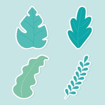 Roślin liście liście liść charakter ikony dekoracji botanicznych