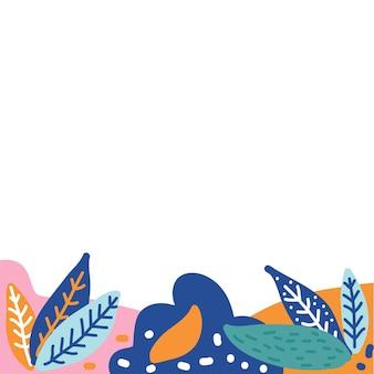 Roślin rama element doodle wzór tła.