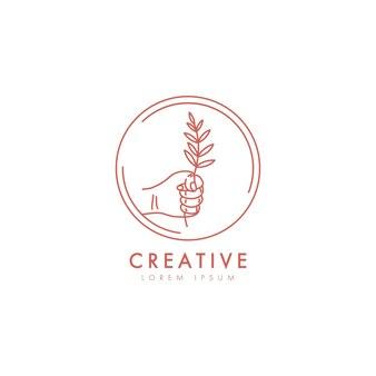Roślin w eleganckim szablonie logo ikona dłoni w modnym liniowym minimalistycznym stylu.