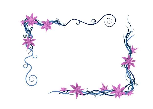 Roślin winorośli streszczenie fioletowy dzikie gałęzie rama wektor płaskie ilustracja na białym tle.