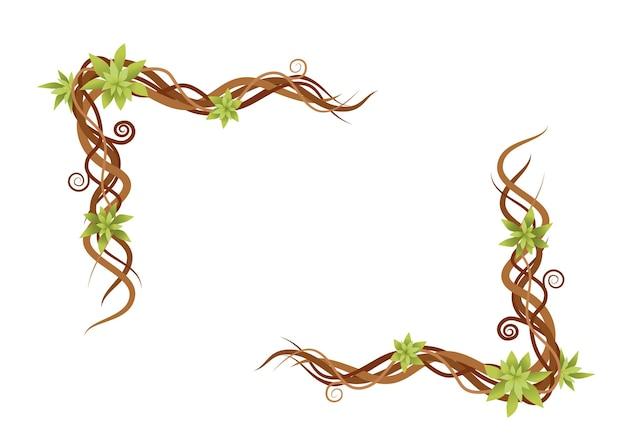 Roślin winorośli streszczenie zielony dzikie gałęzie rama wektor płaski ilustracja na białym tle.