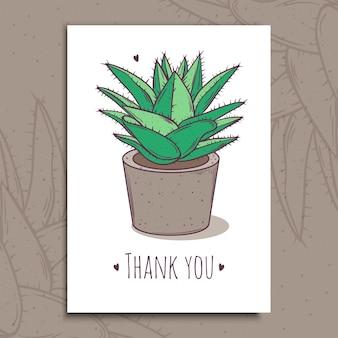 Roślina dekoracyjna soczysta. pocztówka z pozdrowieniami z podziękowaniem za tekst. ilustracja. aloes z kaktusa