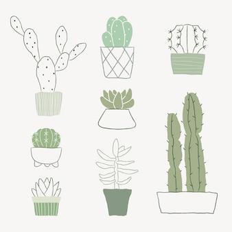 Roślina doniczkowa kaktus wektor zestaw doodle