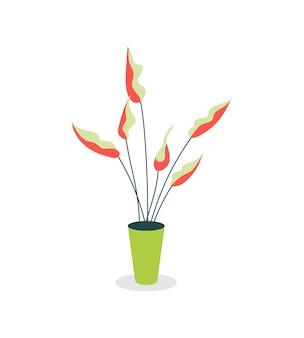 Roślina doniczkowa płaski kolor obiektu wektorowego. projektowanie wnętrz. dekoracja przestrzeni roboczej. zieleń w pomieszczeniu. rosnące kwiaty w warunkach biurowych na białym tle ilustracja kreskówka do projektowania graficznego i animacji internetowej