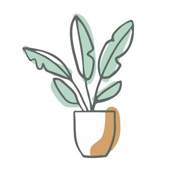 Roślina doniczkowa streszczenie minimalne płaskie wektor ilustracja