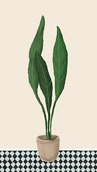 Roślina doniczkowa styl szkic telefon komórkowy wektor tapety