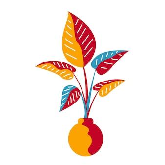 Roślina ib wazon doniczkowy doodle element do projektowania koszulki dziecięcej lub plakatu.