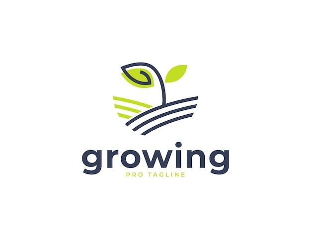 Roślina kiełkowa z logo ekologicznej farmy liści