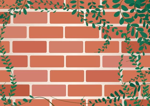 Roślina na ścianie cegieł