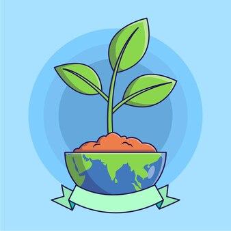 Roślina w połowie ziemi i ilustracji wstążki