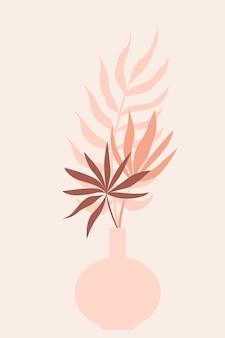 Roślina w tle wzoru wazonu, minimalistyczna ilustracja wazonu boho do projektowania dekoracji ściennych przedszkola, nadruk koszulki, ulotka sklepowa, współczesny plakat itp.