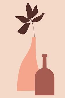 Roślina w wazonie minimalistyczna ilustracja boho