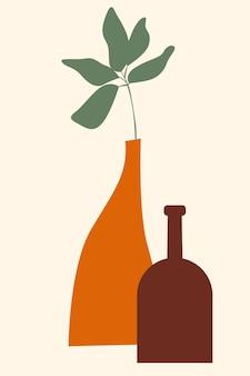 Roślina w wazonie minimalistyczna ilustracja wazonu boho