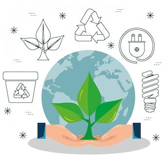 Roślina z liśćmi w rękach z elementem ekologicznym