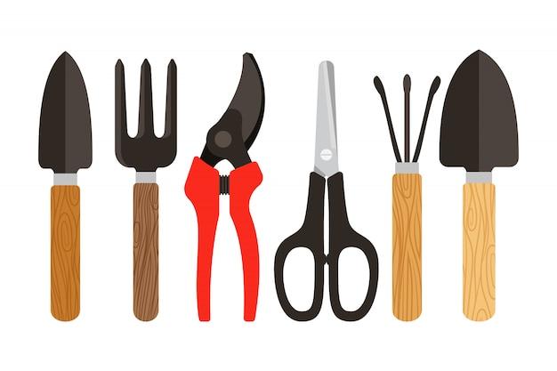 Rośliny domowe narzędzia płaskie kolorowe ikony na białym tle